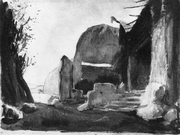 Бенуа А. Н. Вход в жилище Гибихунгов, Гибель богов (Мариинский театр, 1903)